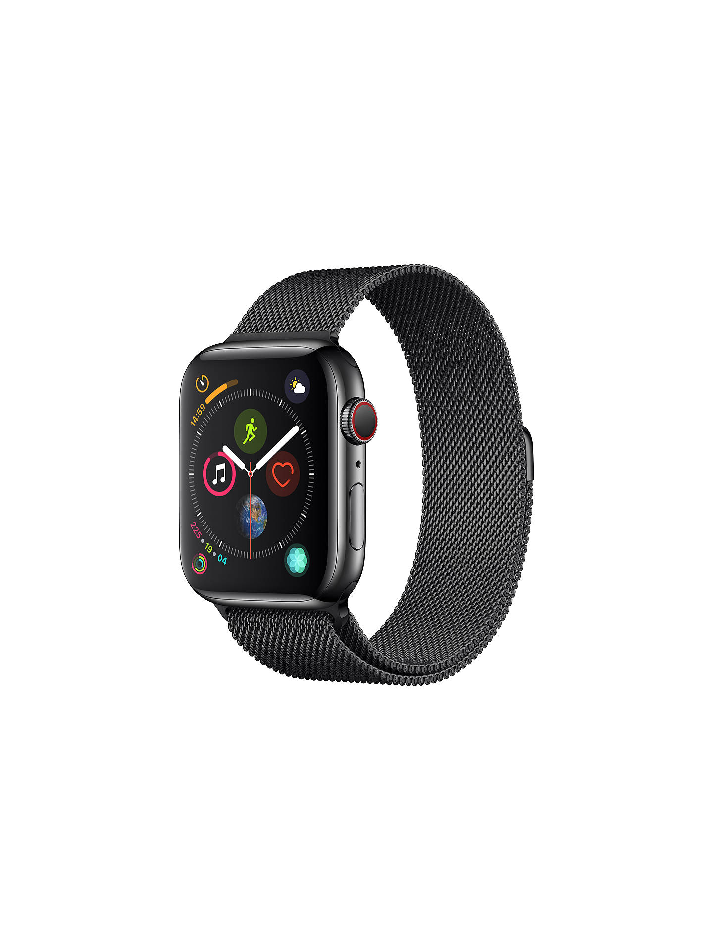 Buy Apple Watch Series 4, GPS and Cellular, 44mm Stainless Steel Case with Milanese Loop, Black Online at johnlewis.com