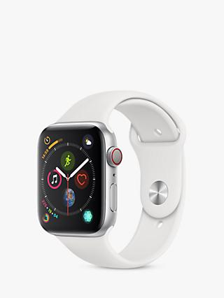 Apple Watch Series 4, GPS and Cellular, 44mm Silver Aluminium Case with Sport Band, White
