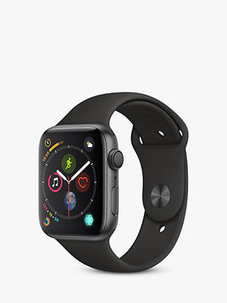 Buy Apple Watch Series 4, GPS, 44mm Space Grey Aluminium Case with Sport Band, Black Online at johnlewis.com