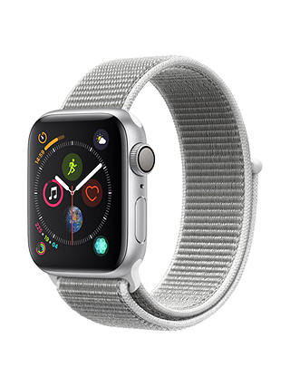 Buy Apple Watch Series 4, GPS, 40mm Silver Aluminium Case with Sport Loop, Seashell Online at johnlewis.com