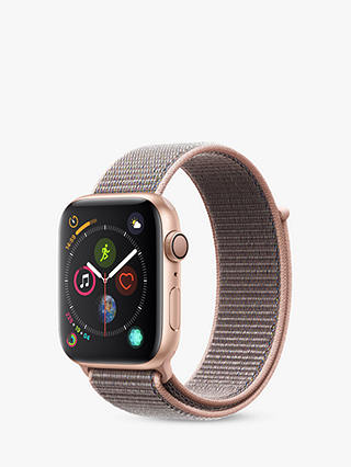 Buy Apple Watch Series 4, GPS, 44mm Gold Aluminium Case with Sport Loop, Pink Online at johnlewis.com