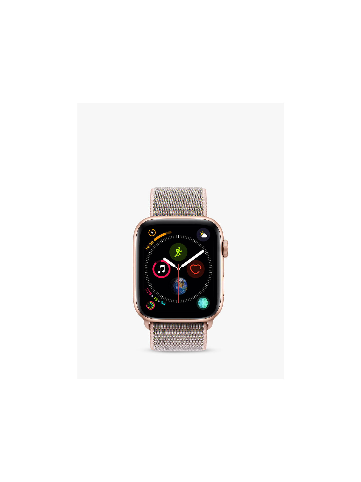 BuyApple Watch Series 4, GPS, 44mm Gold Aluminium Case with Sport Loop, Pink Online at johnlewis.com