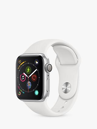 Apple Watch Series 4, GPS, 40mm Silver Aluminium Case with Sport Band, White