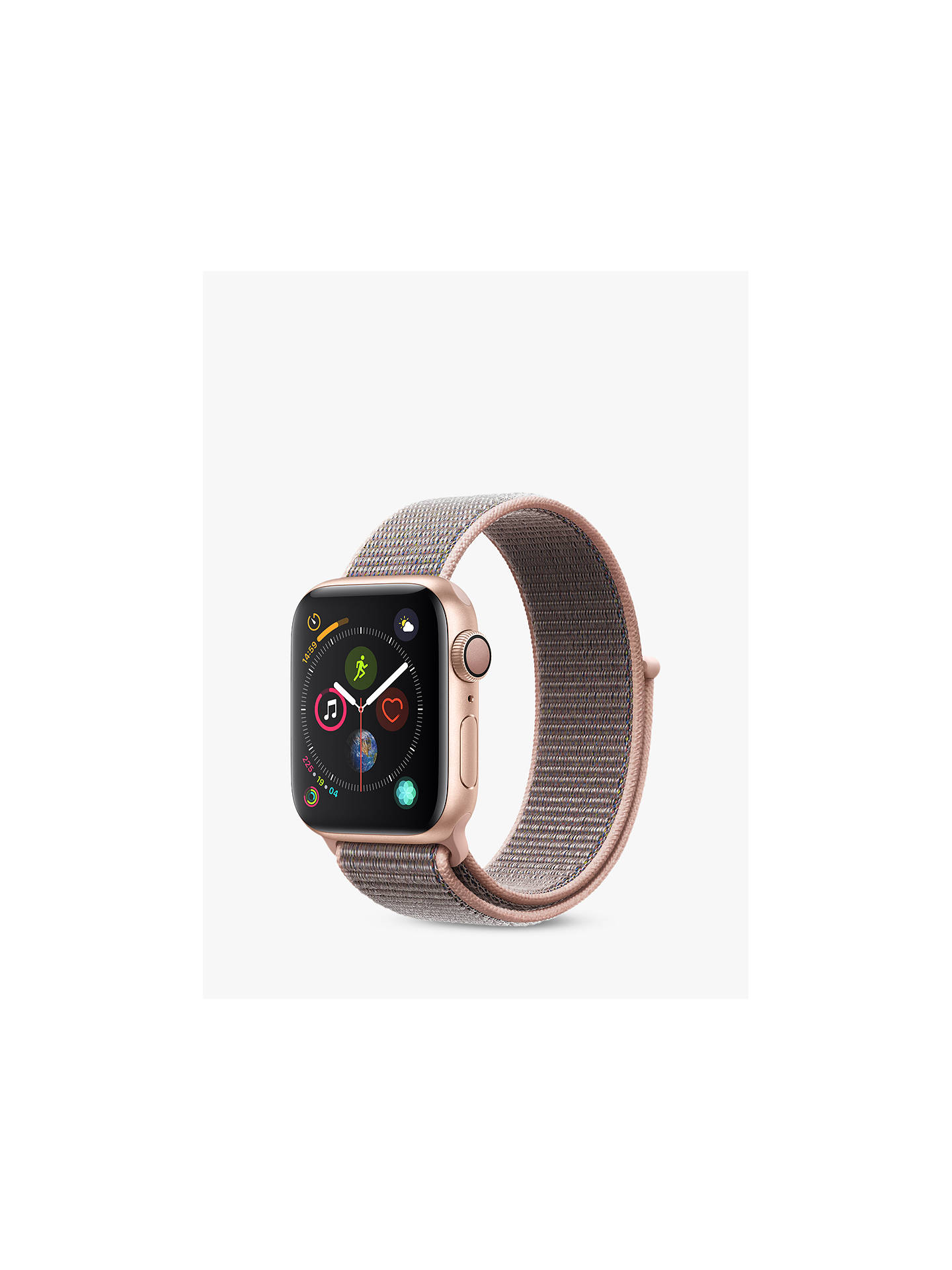 BuyApple Watch Series 4, GPS, 40mm Gold Aluminium Case with Sport Loop, Pink Online at johnlewis.com
