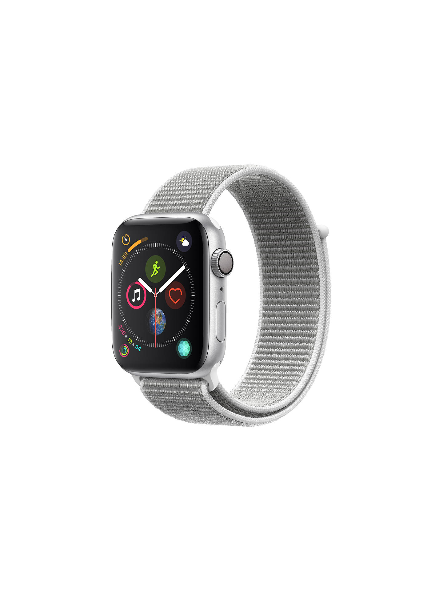 BuyApple Watch Series 4, GPS, 44mm Silver Aluminium Case with Sport Loop, Seashell Online at johnlewis.com