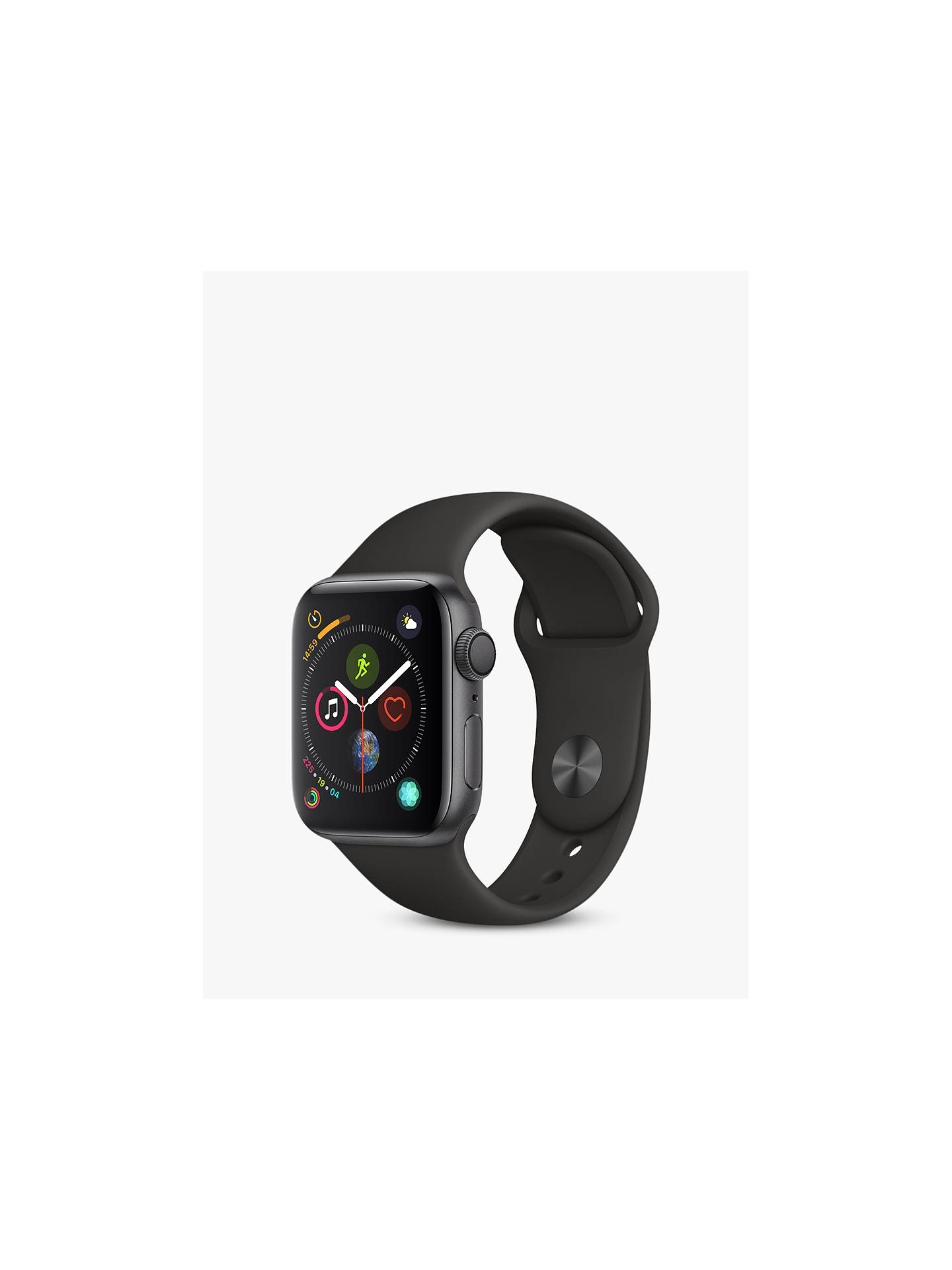 BuyApple Watch Series 4, GPS, 40mm Space Grey Aluminium Case with Sport Band, Black Online at johnlewis.com