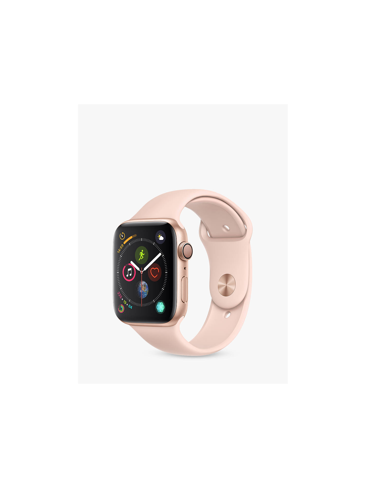 Buy Apple Watch Series 4, GPS, 44mm Gold Aluminium Case with Sport Band, Pink Online at johnlewis.com