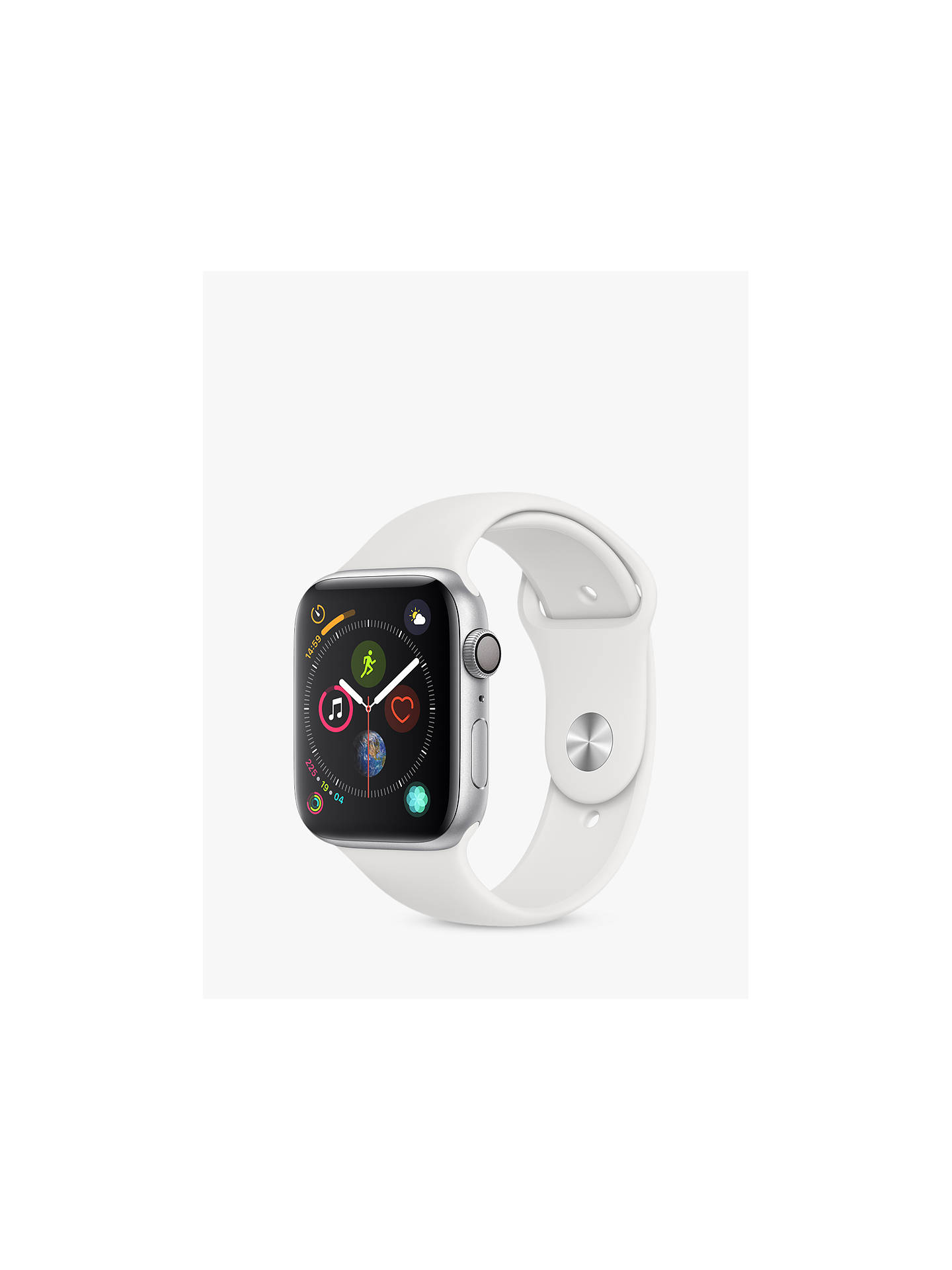 online retailer 696ca 7c5c3 Apple Watch Series 4, GPS, 44mm Silver Aluminium Case with Sport Band, White