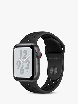 Buy Apple Watch Nike+, Series 4, GPS and Cellular, 40mm Anthracite Aluminium Case with Nike Sport Band, Black Online at johnlewis.com