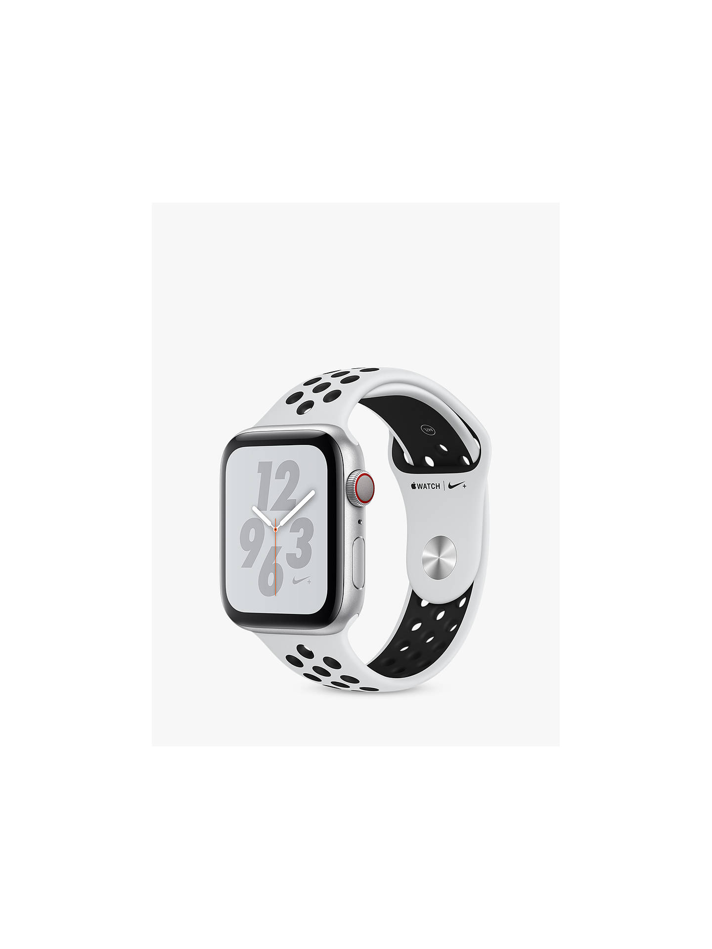 Buy Apple Watch Nike+, Series 4, GPS and Cellular, 44mm Platinum Aluminium Case with Nike Sport Band, White/Black Online at johnlewis.com