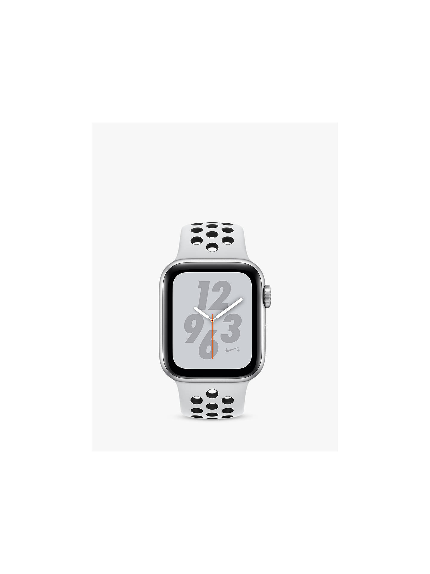 Buy Apple Watch Nike+, Series 4, GPS and Cellular, 40mm Platinum Aluminium Case with Nike Sport Band, White/Black Online at johnlewis.com