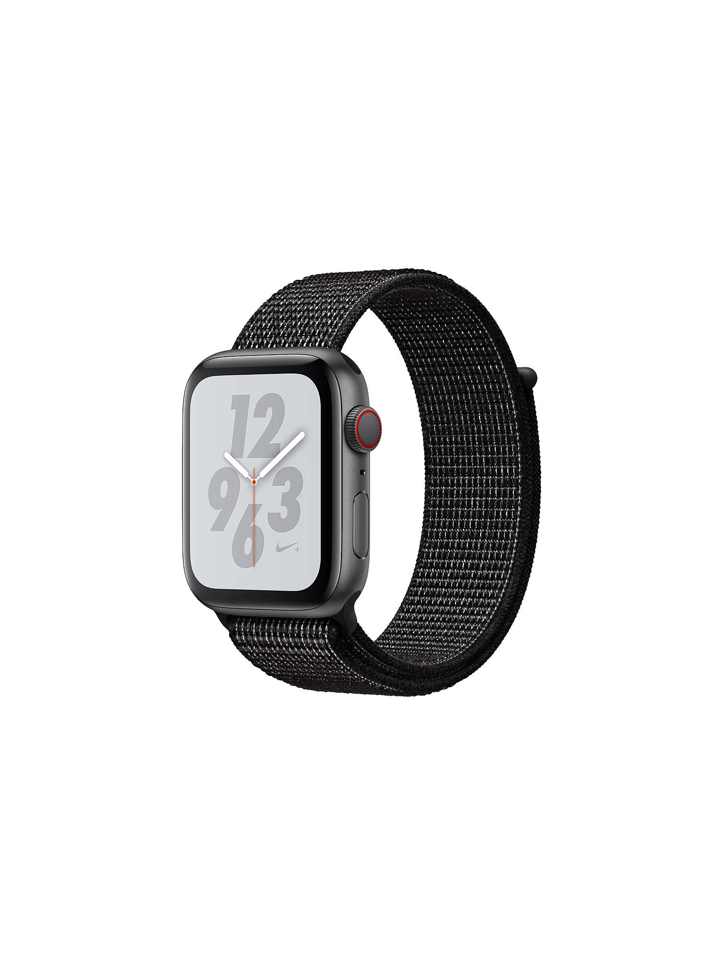 Buy Apple Watch Nike+, Series 4, GPS and Cellular, 44mm Aluminium Case with Nike Sport Loop, Black Online at johnlewis.com