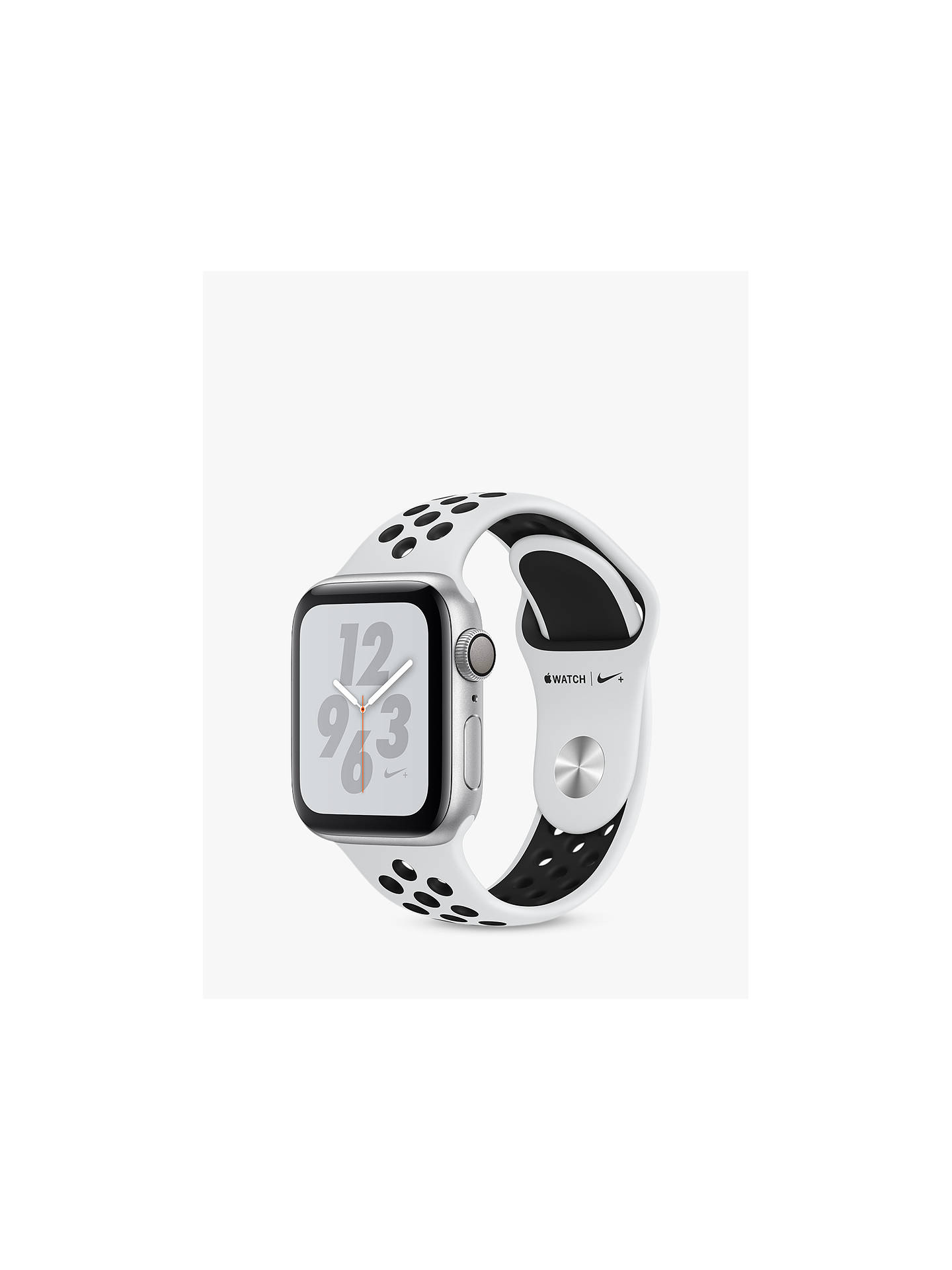 BuyApple Watch Series 4, GPS, 40mm Platinum Aluminium Case with Nike Sport Band, Black Online at johnlewis.com