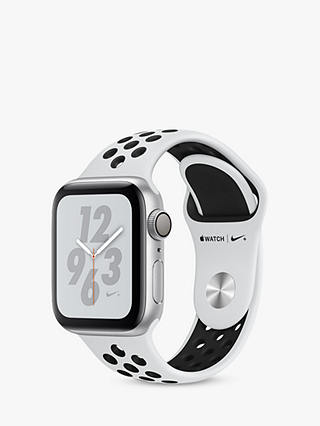 Buy Apple Watch Series 4, GPS, 40mm Platinum Aluminium Case with Nike Sport Band, White/Black Online at johnlewis.com