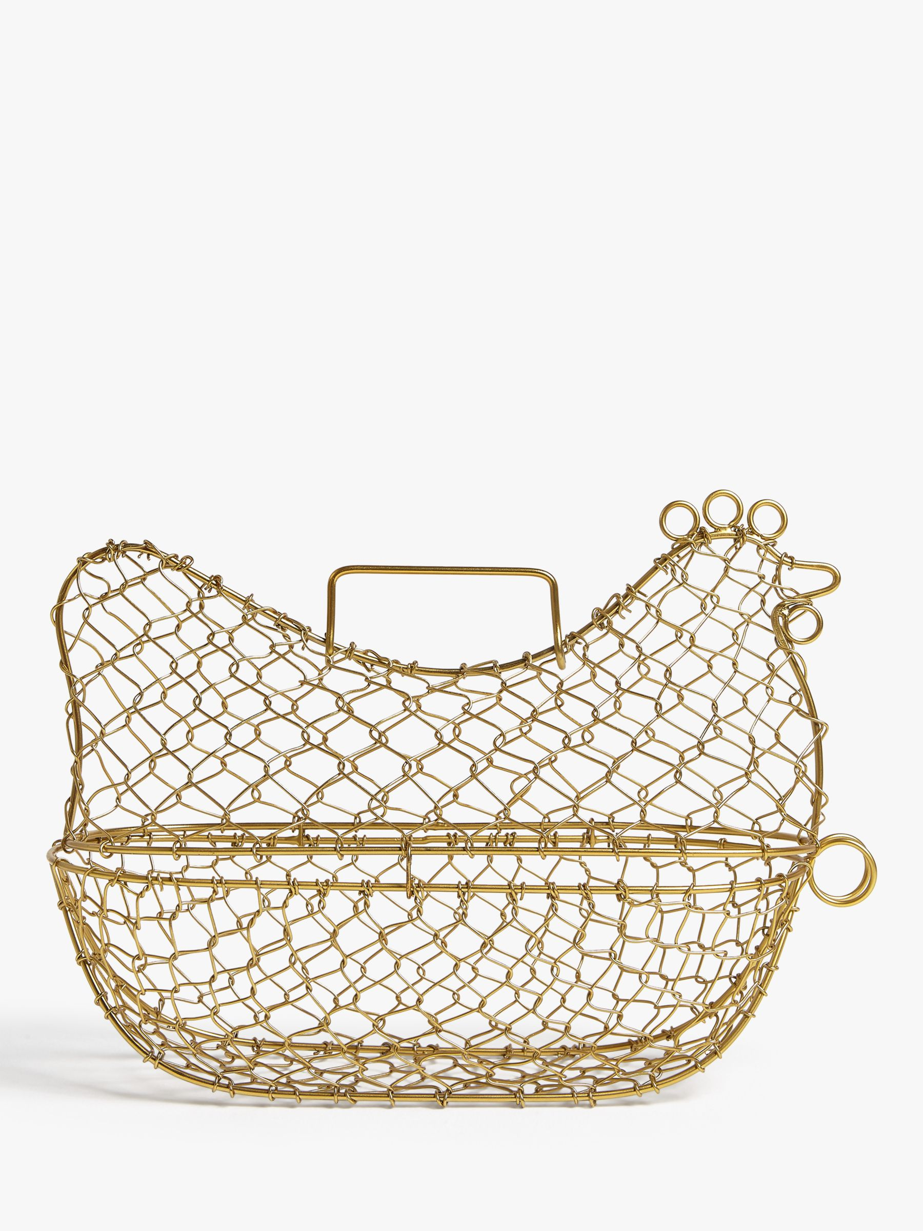 John Lewis Partners Wire Chicken Egg Basket Brass At John Lewis Partners