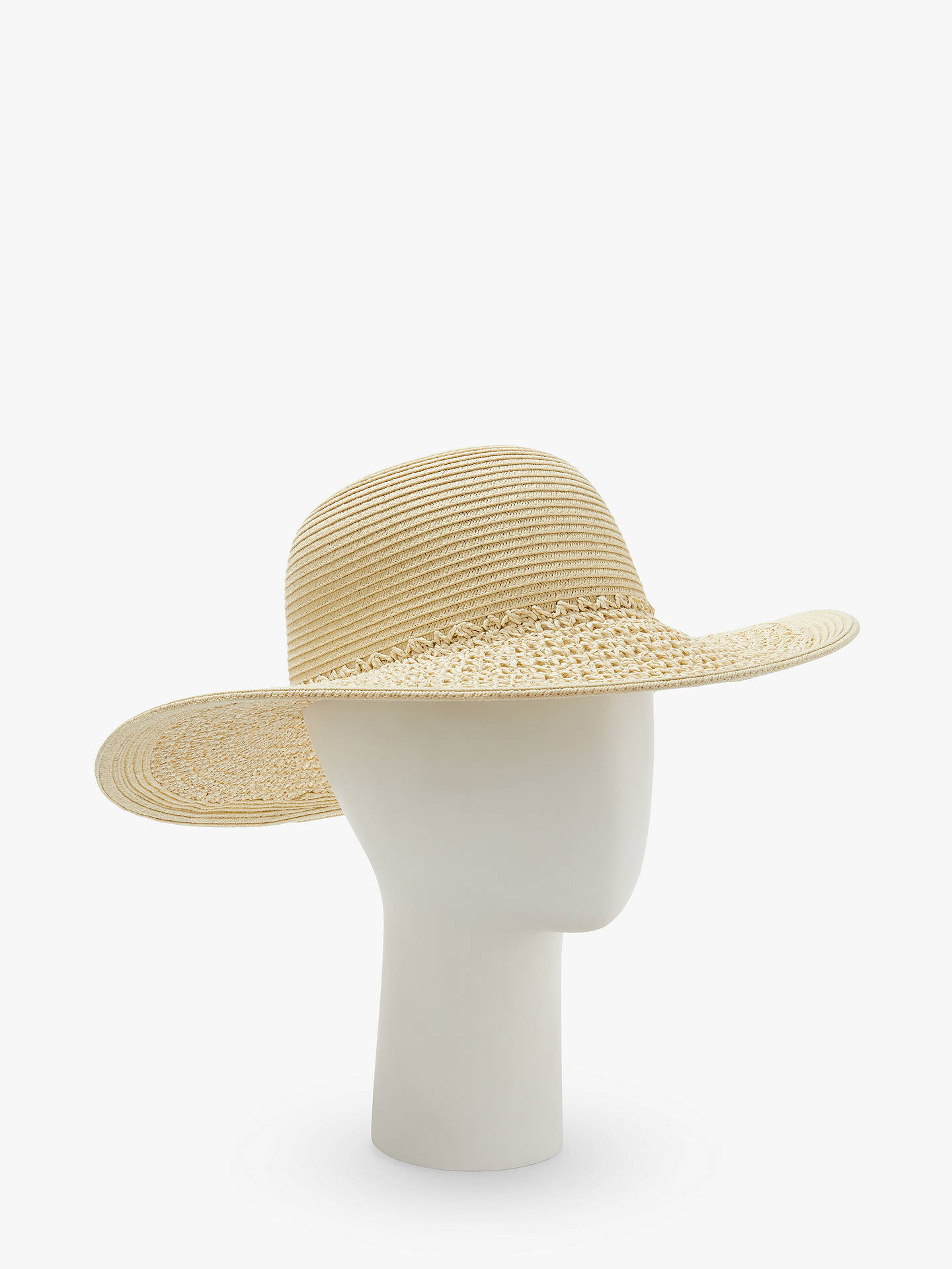 7a0a2a6c0 John Lewis & Partners Packable Weave Floppy Sun Hat, Natural