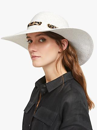 b9f761aa63a33e Collection WEEKEND by John Lewis Glam Leopard Print Ribbon Floppy Hat,  White/Gold