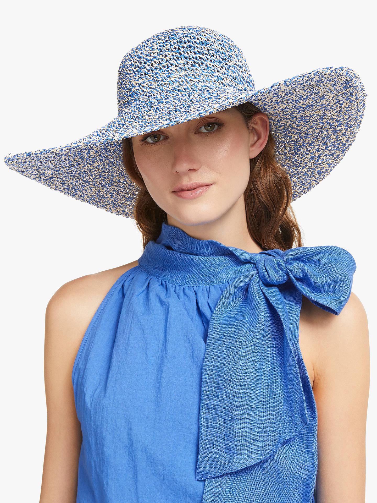 664680e7 Buy John Lewis & Partners Packable Weave Mix Floppy Sun Hat, Blue Mix  Online at ...