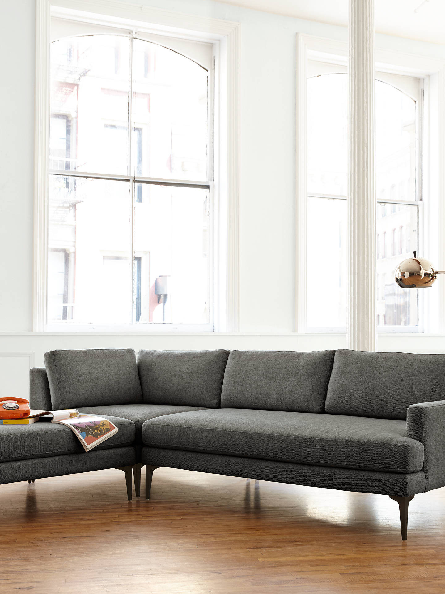 Buy west elm Andes Large 3 Seater LHF Sectional Sofa, Granite Twill Online at johnlewis.com