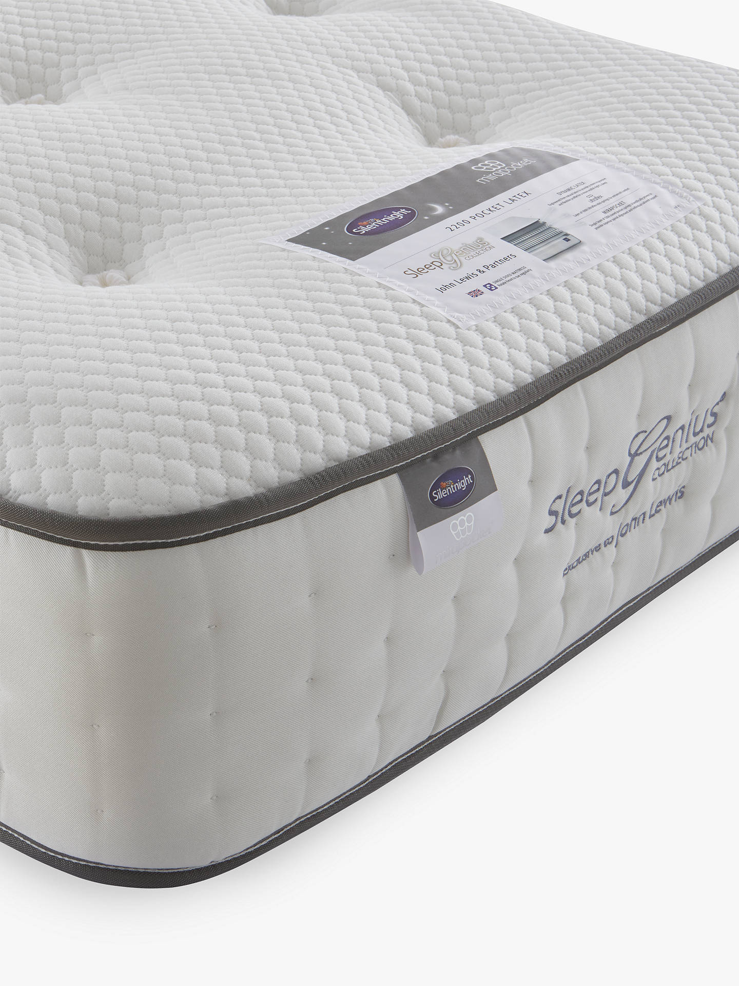 Buy Silentnight Sleep Genius 2200 Pocket Latex Mattress, Medium/Firm Tension, Single Online at johnlewis.com
