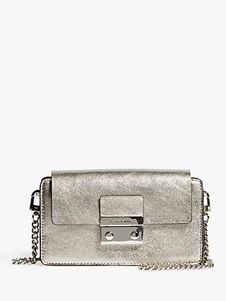 6aac976bad Karen Millen Metallic Cross Body Clutch Bag, Silver