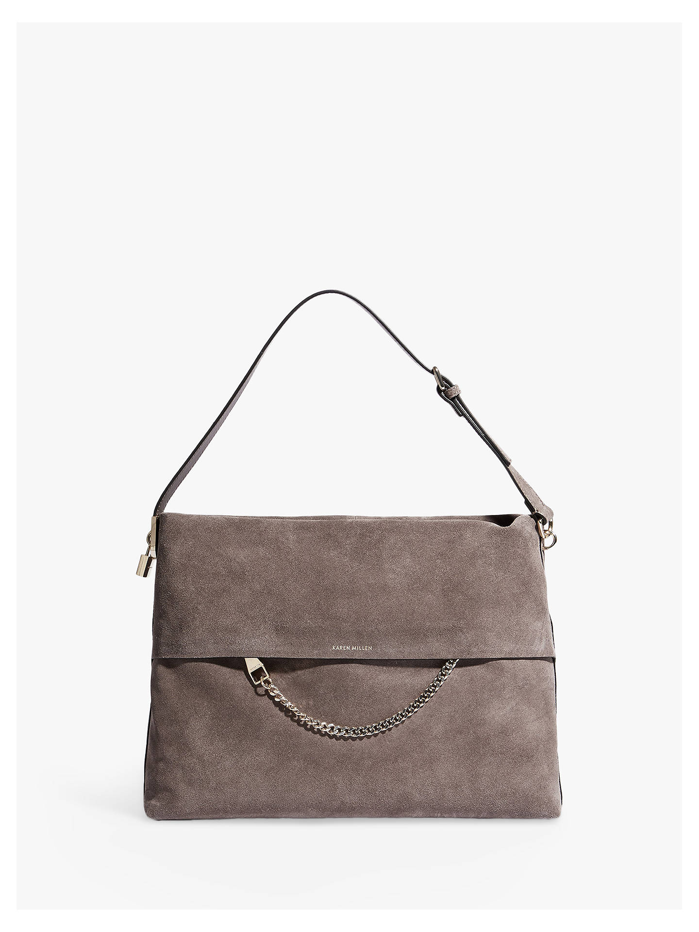 2d18984238 Buy Karen Millen Slouchy Textured Shoulder Bag, Grey Online at  johnlewis.com ...