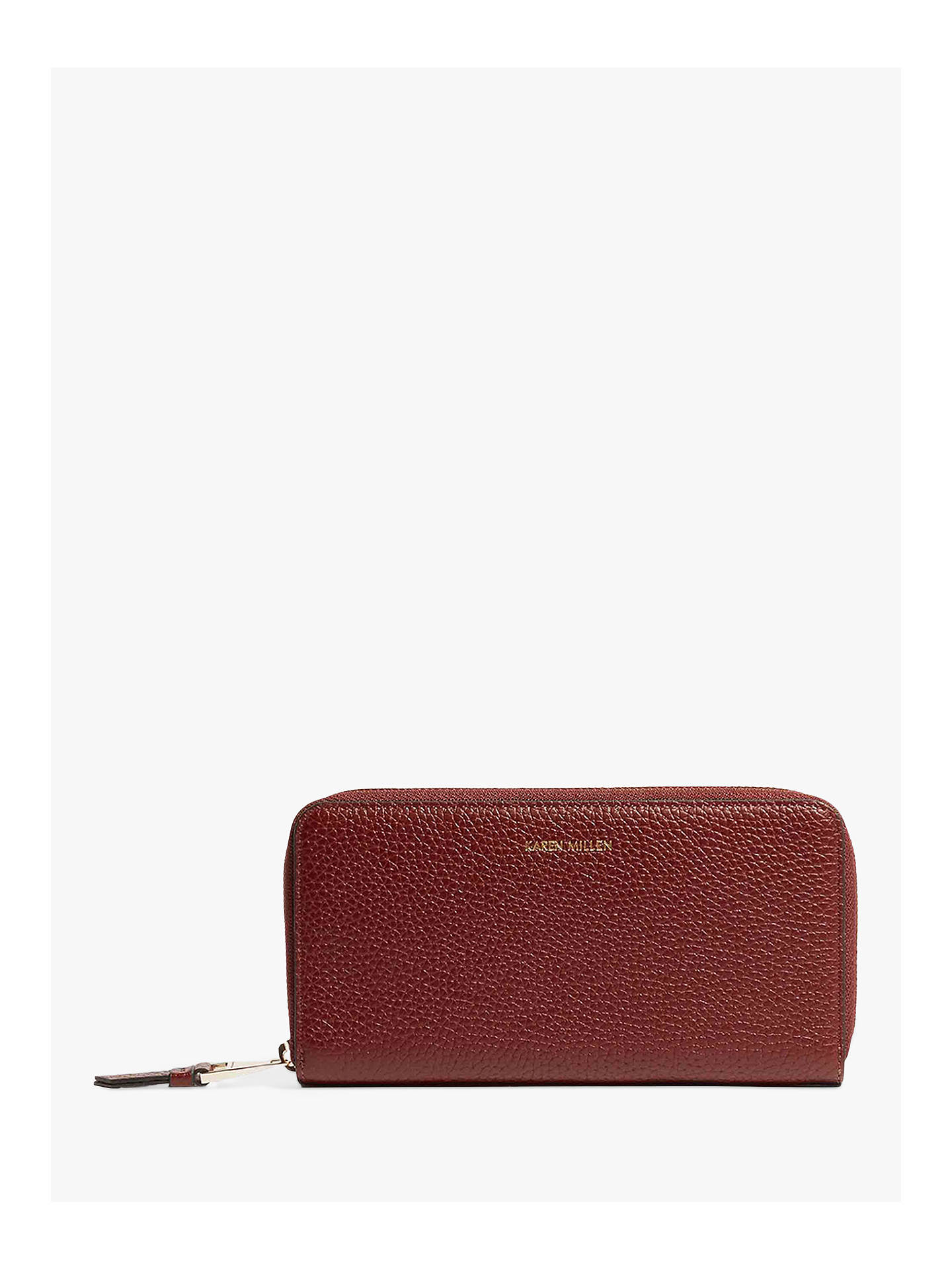 Karen Millen Zip Around Leather Purse Dark Red Online At Johnlewis
