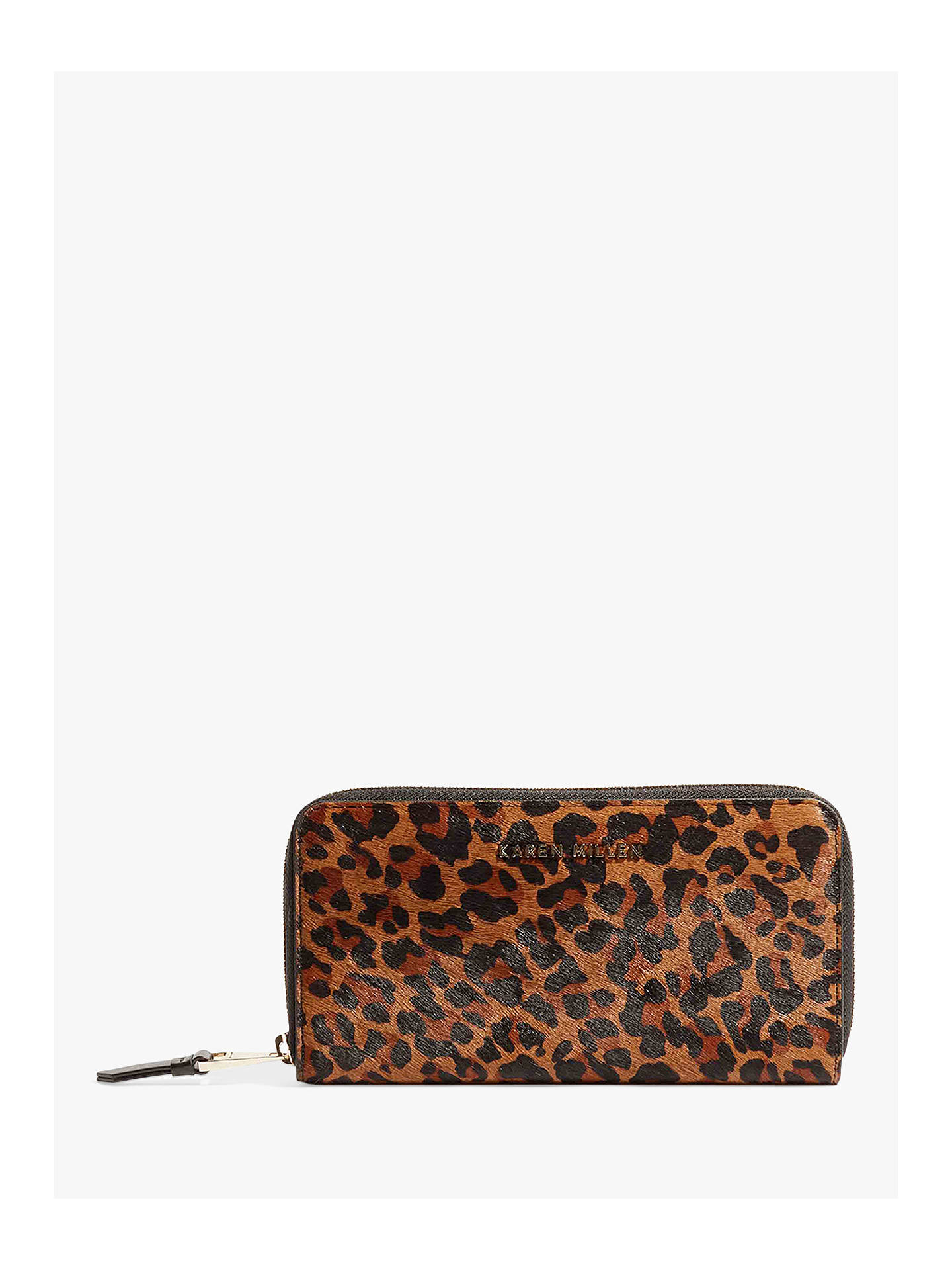 054c7b2de5b Buy Karen Millen Zip Around Leather Purse, Leopard Online at johnlewis.com  ...