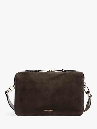 2e639326c4 Karen Millen Compact Suede Cross Body Bag, Olive