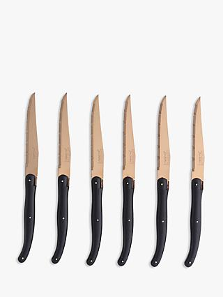 Laguiole Copper and Black Steak Knives, 6 Piece