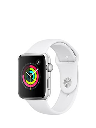 Apple Watch Series 3, GPS, 42mm Silver Aluminium Case with Sport Band, White
