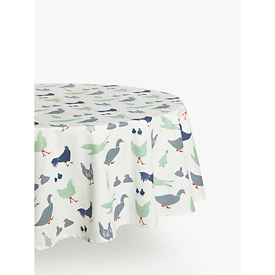 John Lewis & Partners Farmyard Wipeable Round Tablecloth, Dia.180cm, Multi