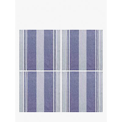 John Lewis & Partners Pembrey Striped Napkins, Set of 4, Blue/White