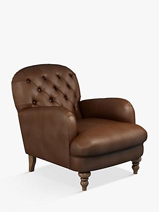 John Lewis & Partners Annie Leather Armchair, Dark Leg