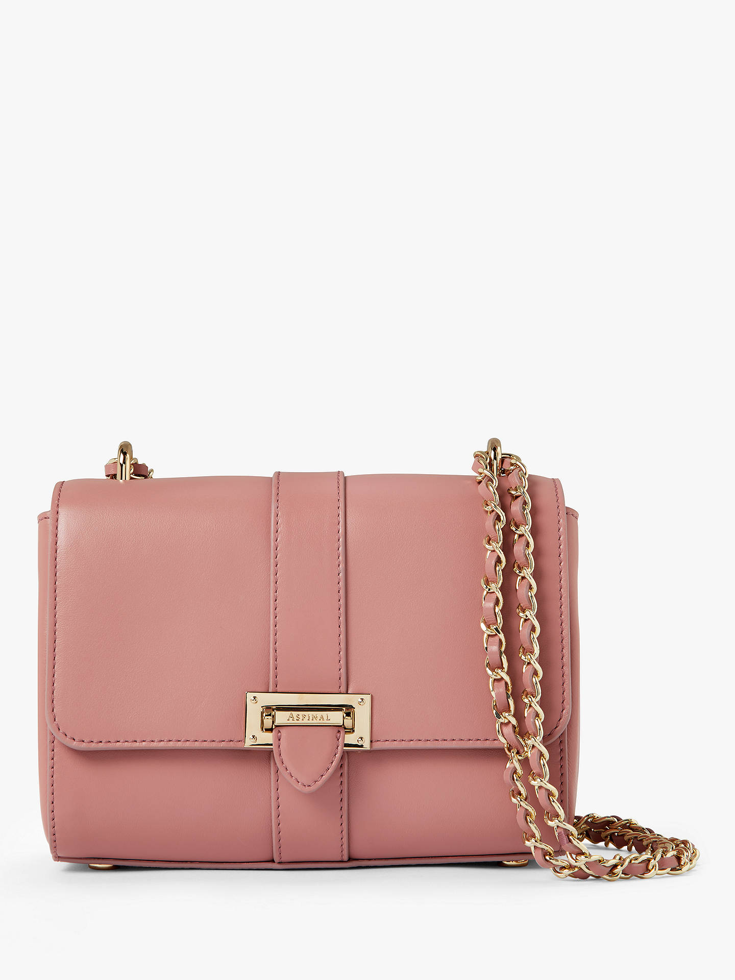 ae52bbaecb1862 Buy Aspinal of London Lottie Leather Cross Body Bag, Dusty Pink Online at  johnlewis.