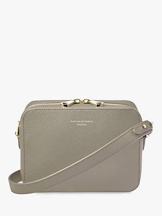 Aspinal Of London Pebbled Leather Camera Cross Body Bag Warm Grey