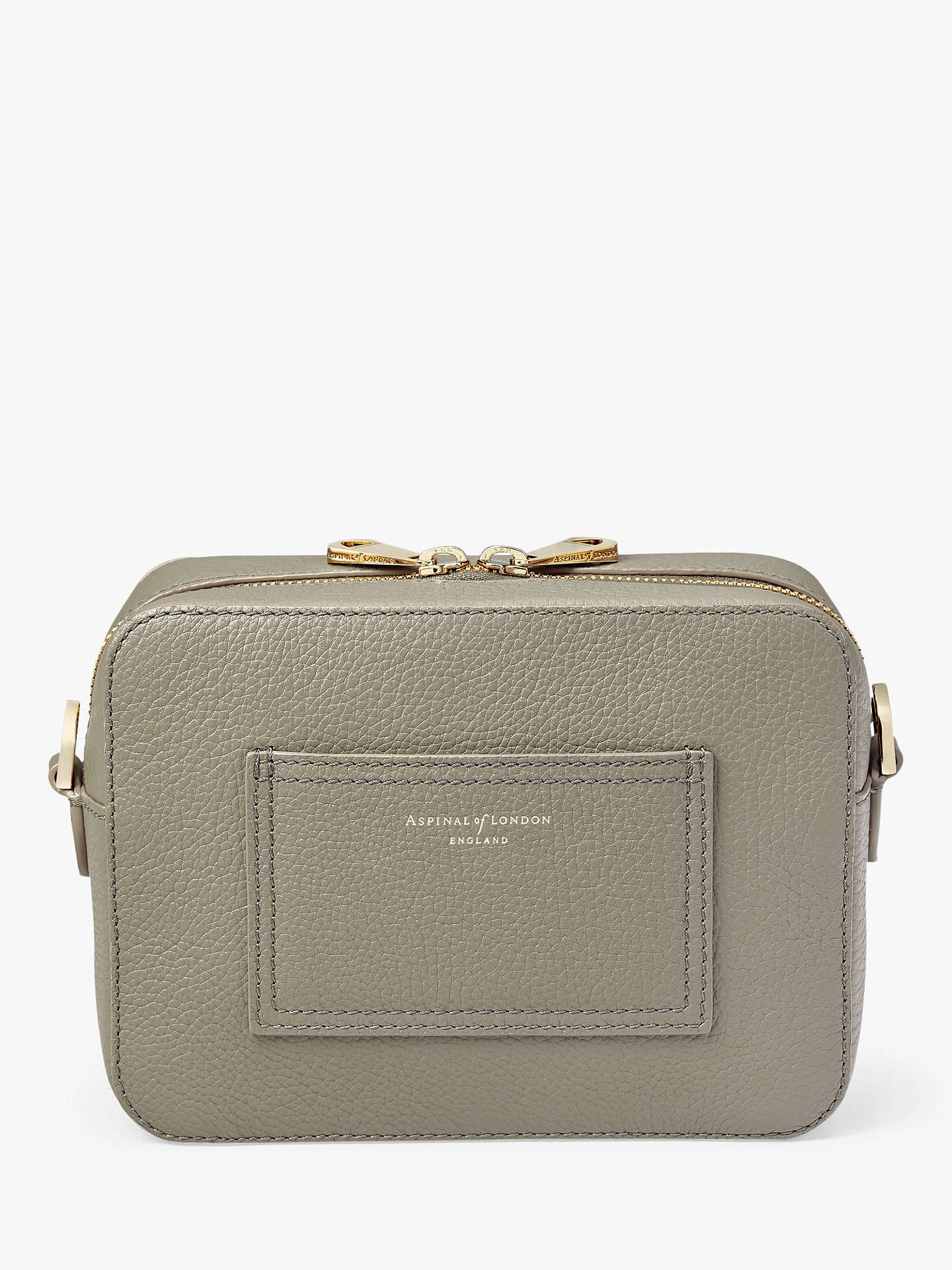 BuyAspinal of London Pebbled Leather Camera Cross Body Bag, Warm Grey Online at johnlewis.com