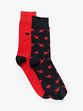John Lewis & Partners Valentines Socks, Pack of 2, Multi