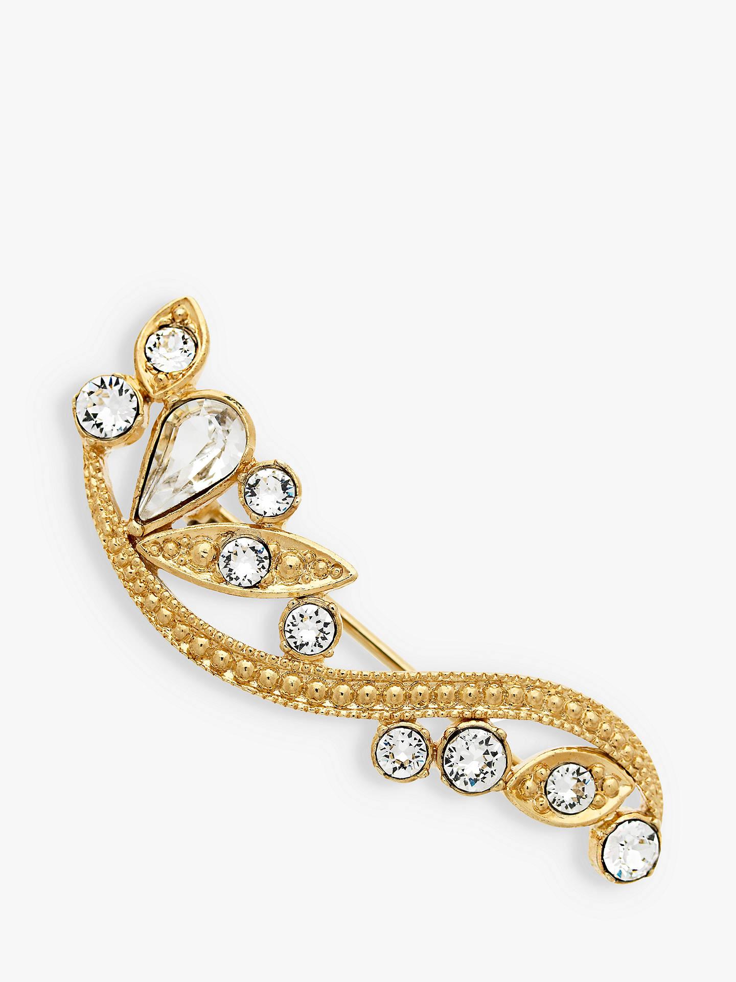 Monet Swarovski Crystal Wave Brooch, Gold