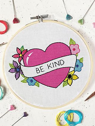 The Make Arcade Be Kind Heart Embroidery Kit