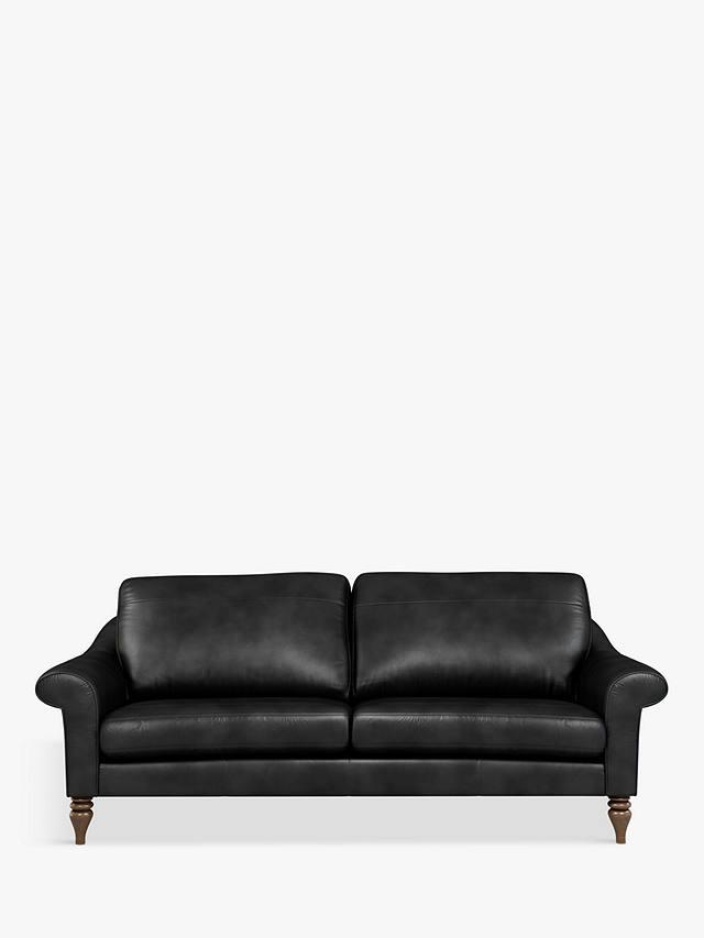 John Lewis & Partners Camber Grand 4 Seater Leather Sofa, Dark Leg, Contempo Black