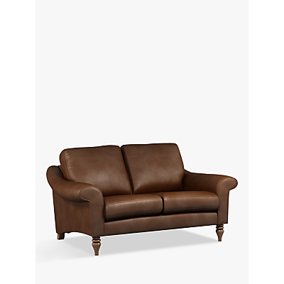John Lewis & Partners Camber Small 2 Seater Leather Sofa, Dark Leg