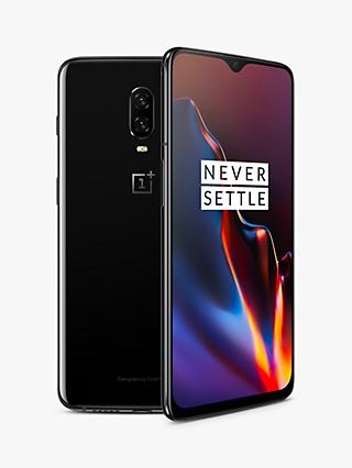 "OnePlus 6T Smartphone, Android, 6.41"", 4G LTE, SIM Free, 6GB RAM, 128GB, Mirror Black"
