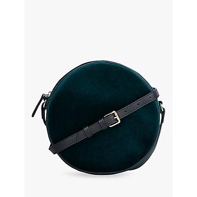 hush Clarisse Faux Velvet Round Bag, Dark Green