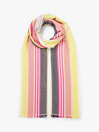 85aec11b3f409 Collection WEEKEND by John Lewis Deckchair Daze Stripe Cotton Scarf,  Pink/Multi