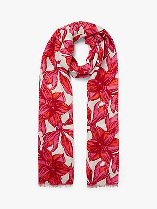 John Lewis & Partners Lillia Ink Print Scarf, Red Mix