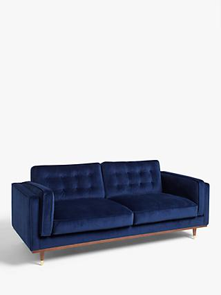 John Lewis & Partners + Swoon Lyon Large 3 Seater Sofa, Caspian Blue Velvet