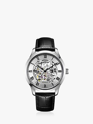Rotary Men's Greenwich Skeleton Leather Strap Watch