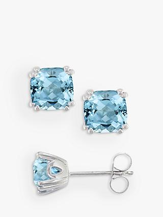 712f9cf3a E.W Adams 9ct White Gold Aquamarine Square Stud Earrings