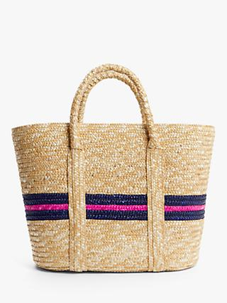 John Lewis & Partners Ava Stripe Raffia Shopper Bag, Navy/Pink
